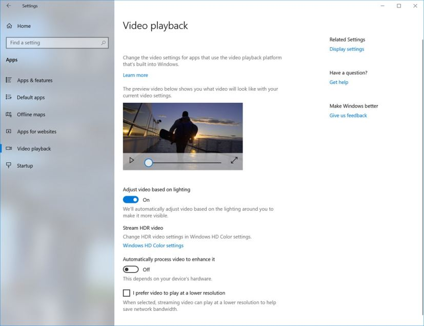 Video playback settings on Windows 10 build 17704