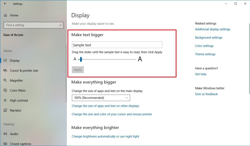 how to make font size bigger on windows 10