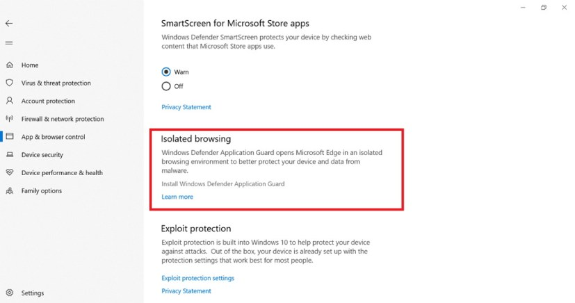 Windows Application Guard settings on Windows Defender