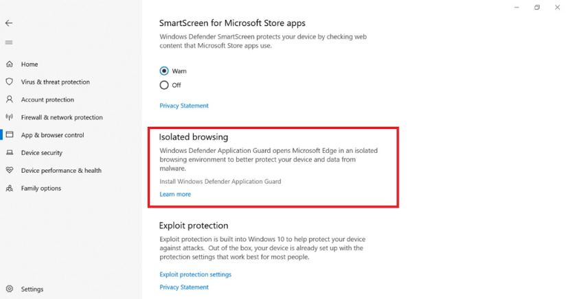 Windows Application Guard settings on Windows Defender