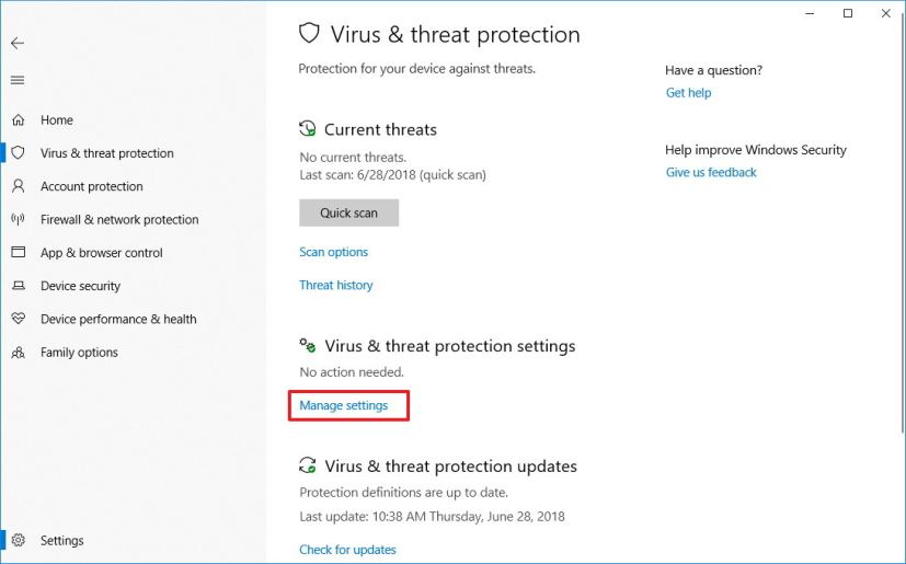 Windows Security Virus & threat protection settings