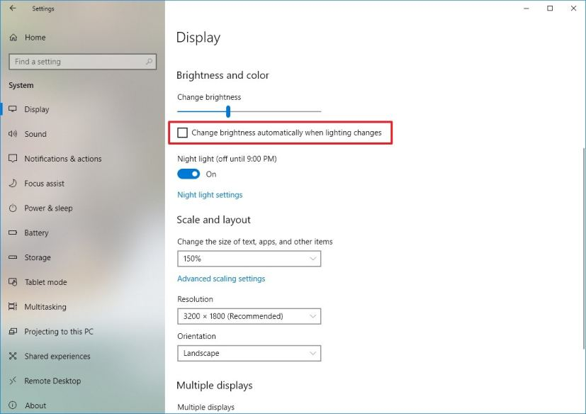 Display settings with option to adjust brightness automatically