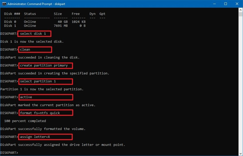 Diskpart commands to create bootable USB on Windows 10