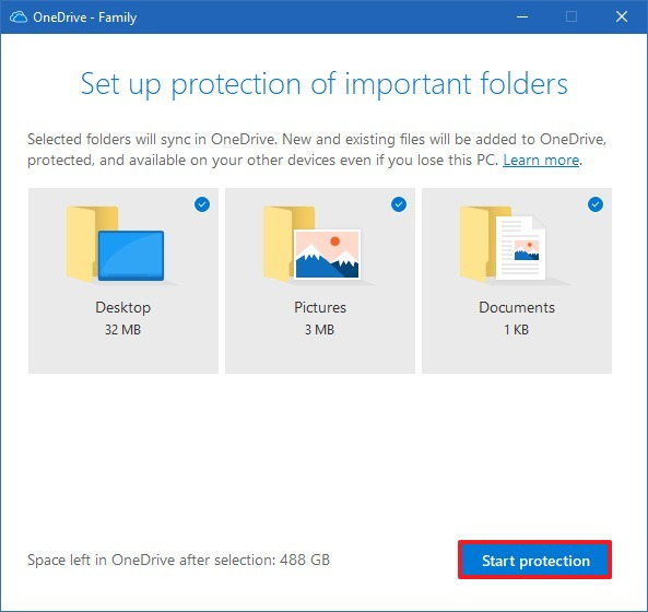 OneDrive folder protection setup