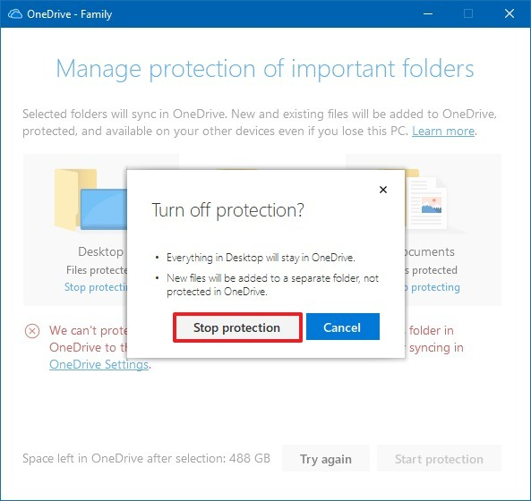 OneDrive stop protection option