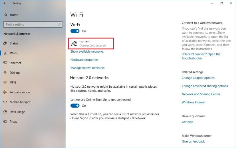 Windows 10 Wi-Fi settings