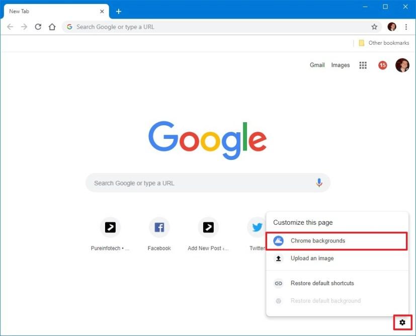 Chrome new tab settings menu