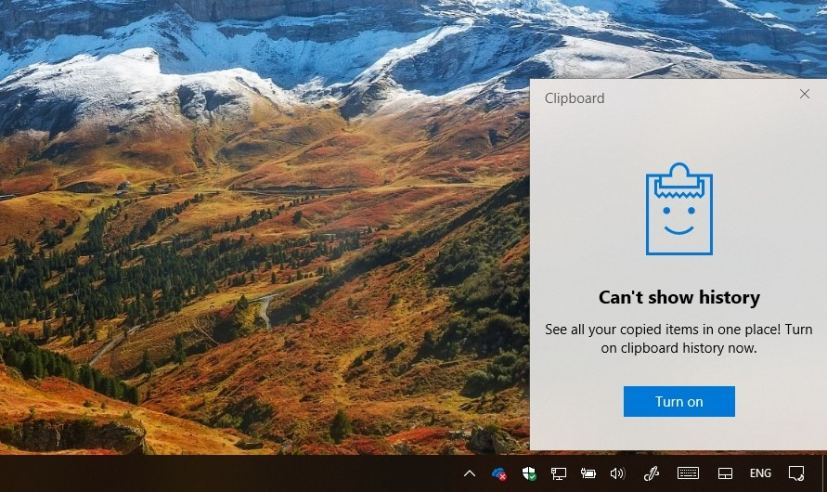 Clipboard history on Windows 10 version 1809