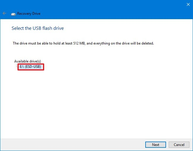 Select USB flash drive for recovery
