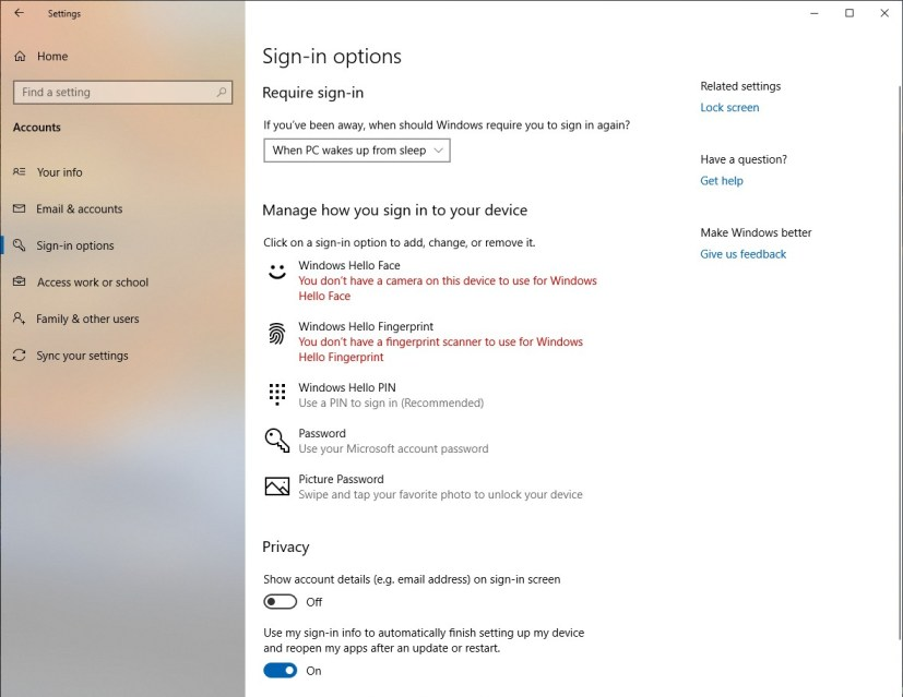 Sign-in options settings page for version 1903
