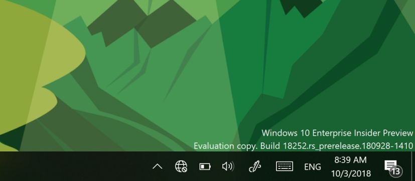Windows 10 taskbar disconnected network icon on build 18252