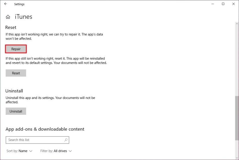iTunes repair option on Windows 10