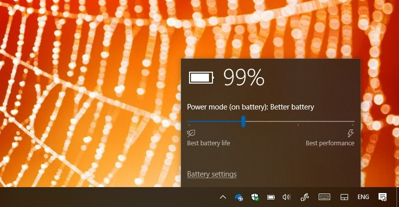 Battery flyout with battery saver disabled