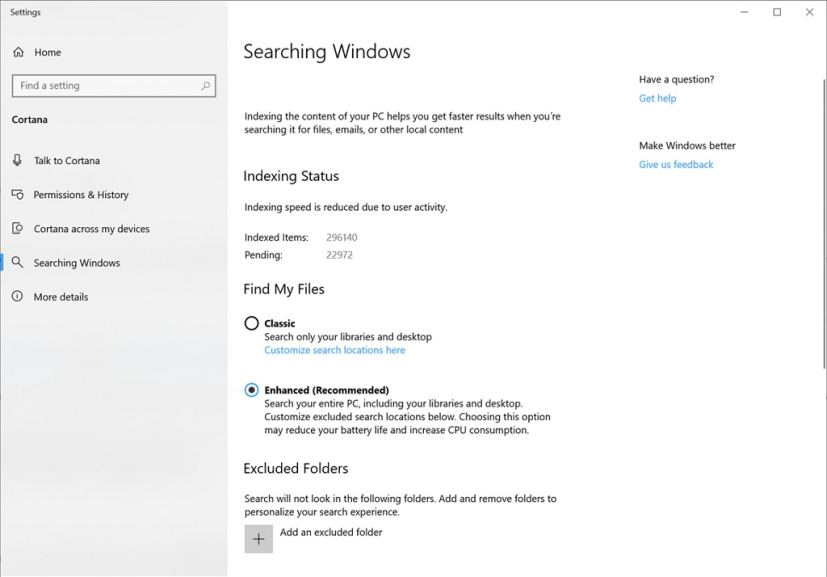 Searching Windows settings on Windows 10 build 18267