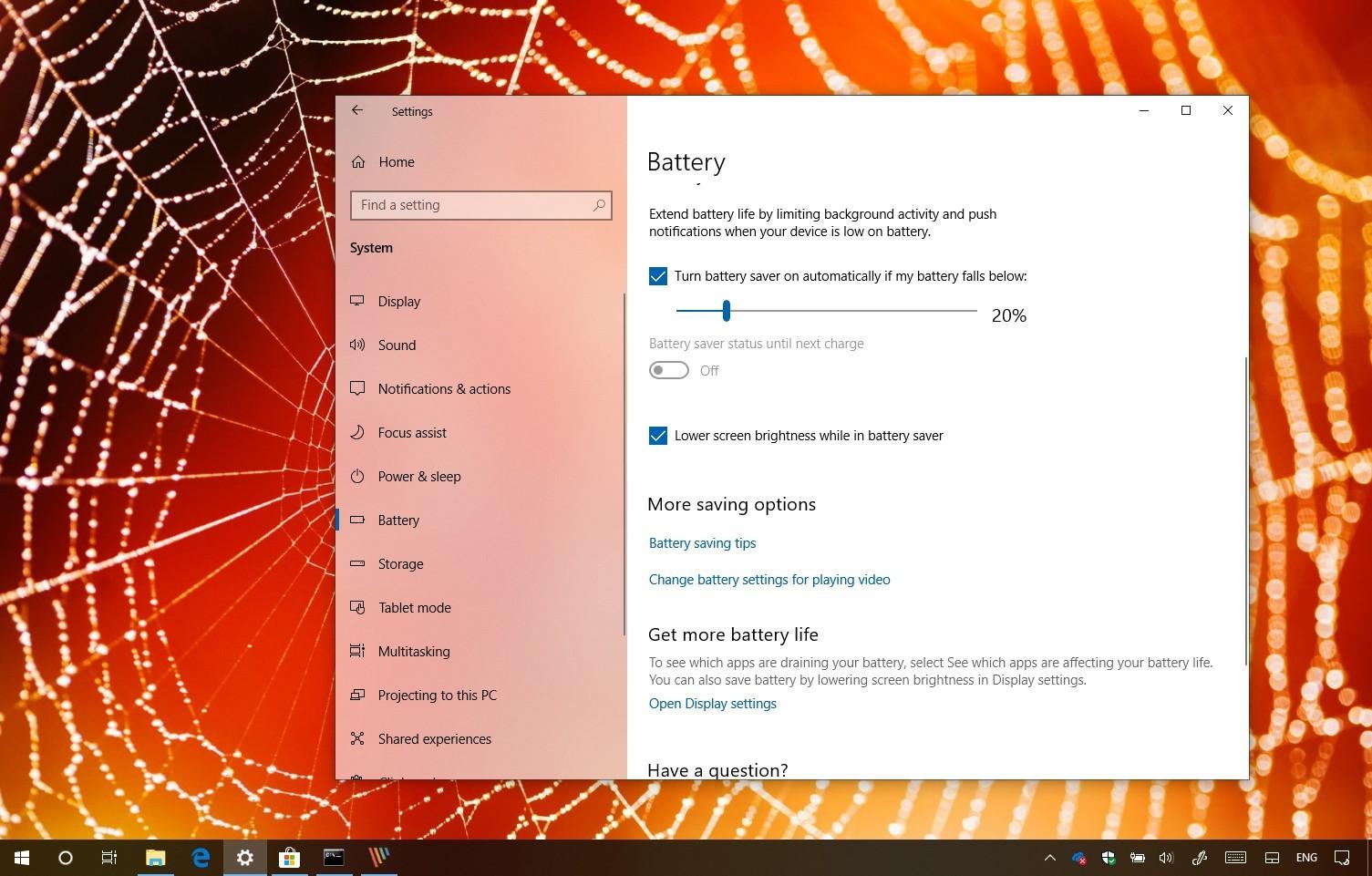 Windows 10 battery saver feature