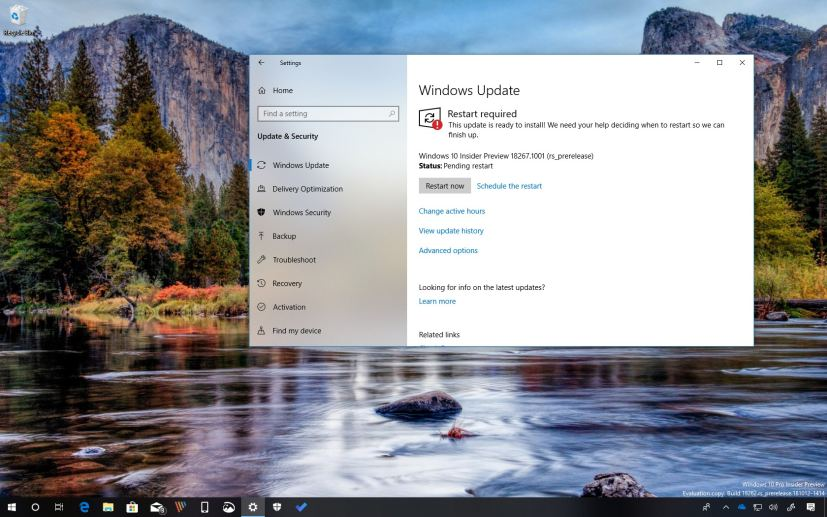 Windows 10 build 18267