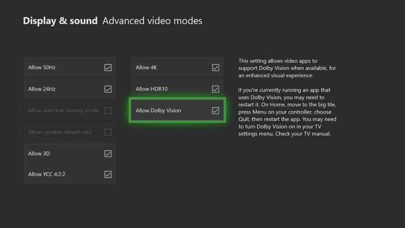 Xbox One Dolby Vision settings