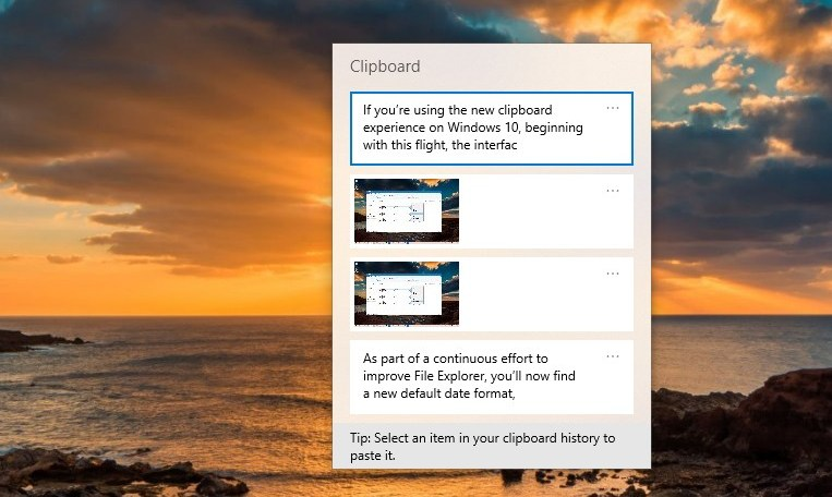 Clipboard interface for Windows 10 version 1903
