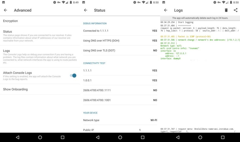 CloudFlare Android and iOS app advanced settings