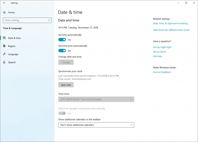 Date & Time settings on Windows 10 version 1903
