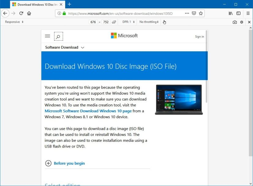 How to download the Windows 10 version 1803 ISO file after version
