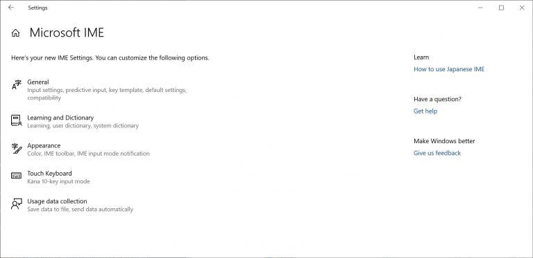 Japanese IME settings on Windows 10
