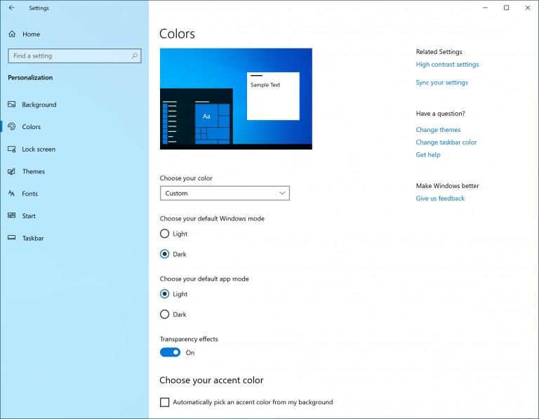 Windows 10 19H1 option to enable light theme