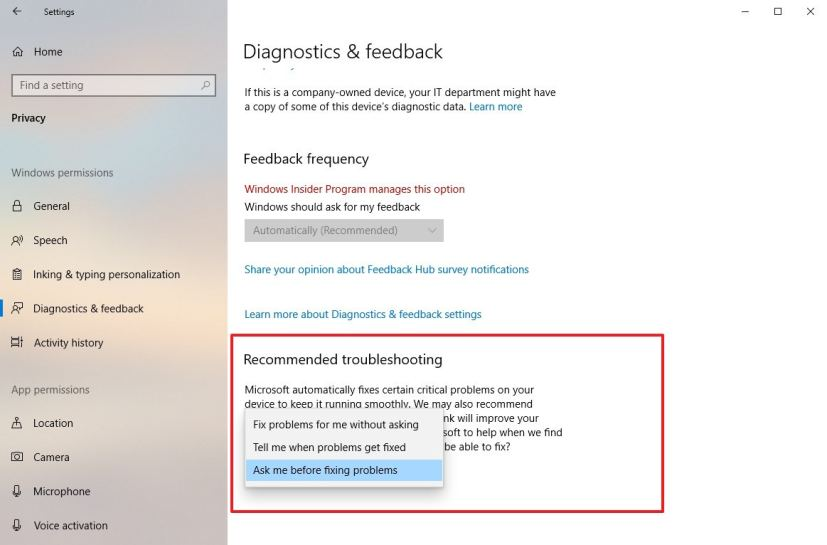 Recommended Troubleshooting settings on version 1903
