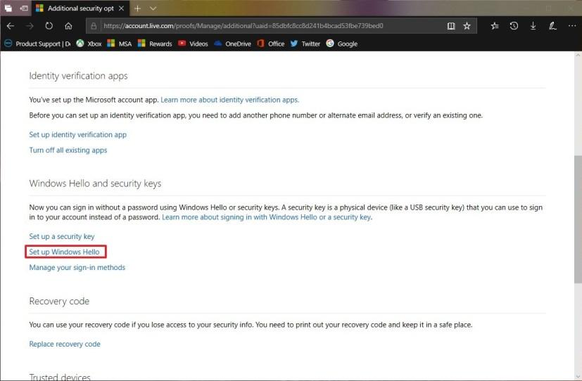 Microsoft account Windows Hello and security key settings