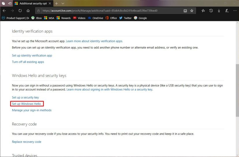 microsoft account security key