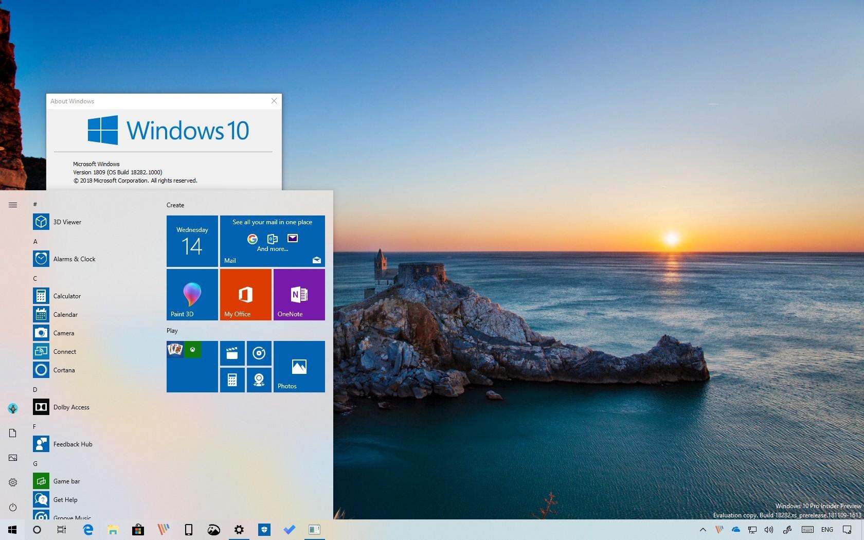 Windows 10 build 18282