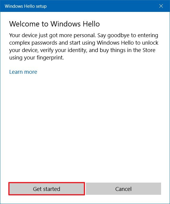 Windows Hello fingerprint wizard