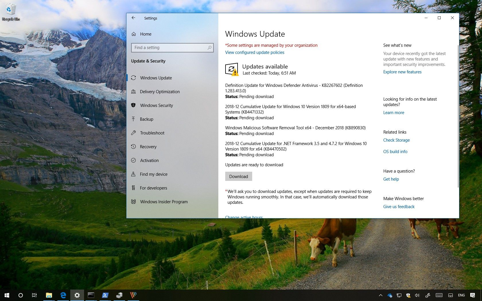 KB4471332 update for Windows 10 version 1809
