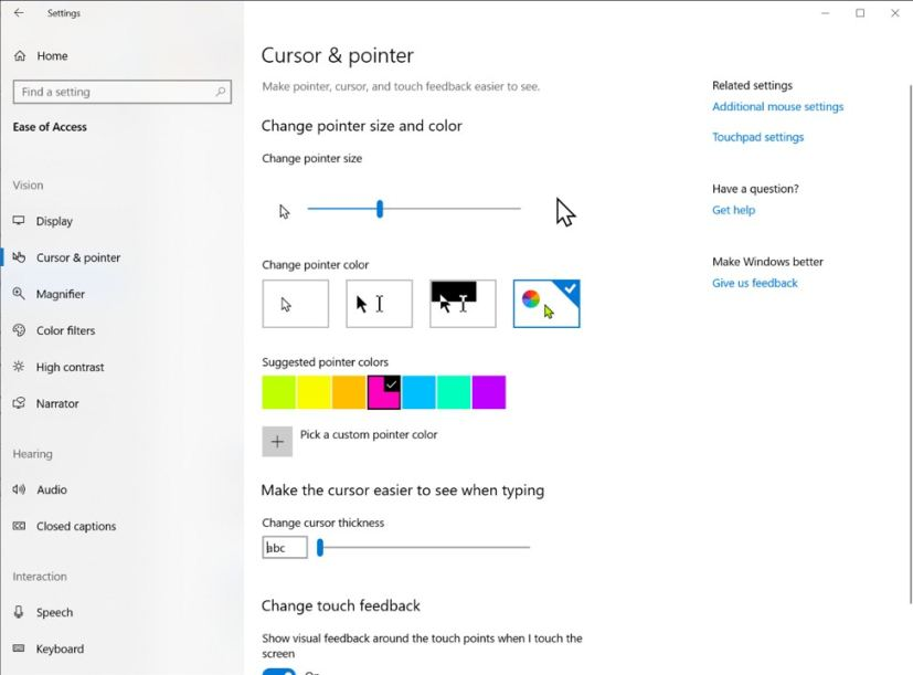 Cursor and pointer new settings for Windows 10 version 1903