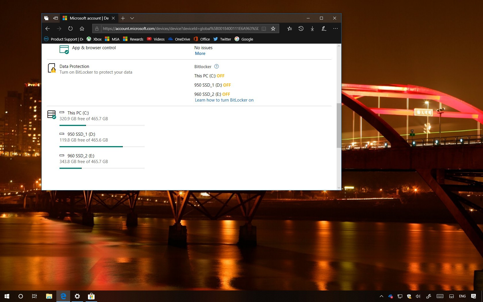 Windows 10 hard drive usage using a Microsoft account