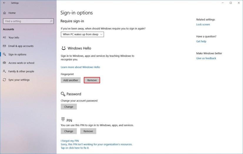 Remove fingerprint from Windows Hello
