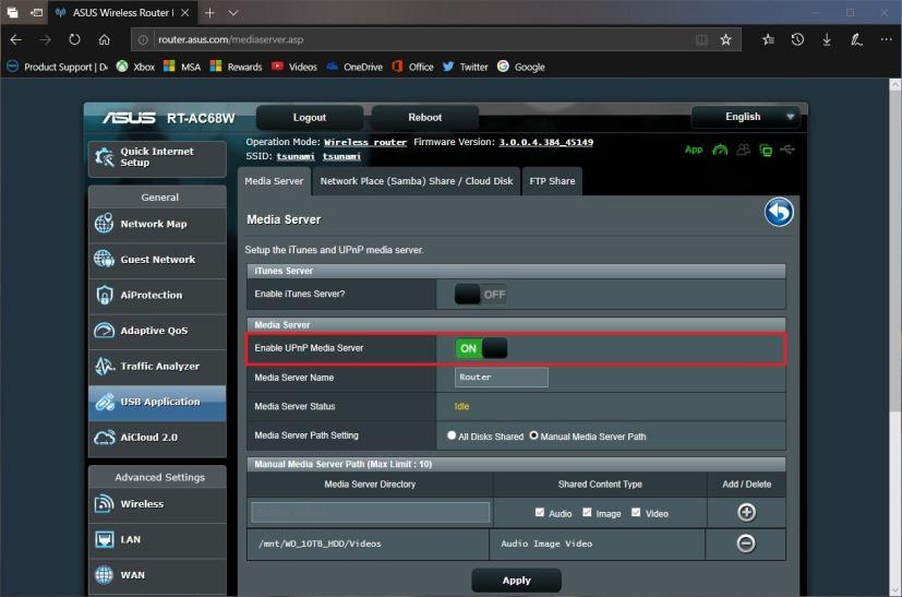 Router UPnP settings