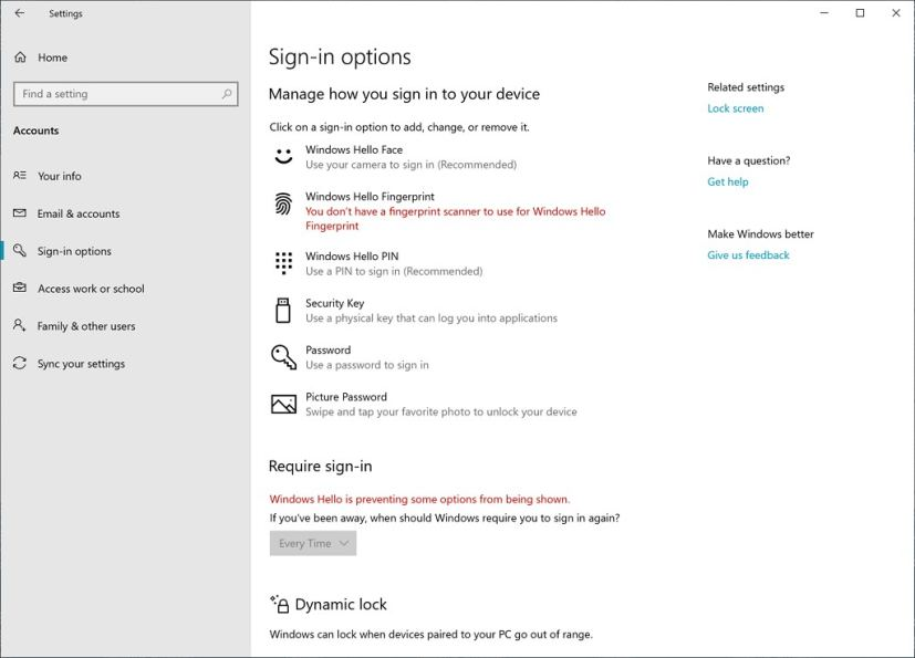 Signing options with Security key set up option