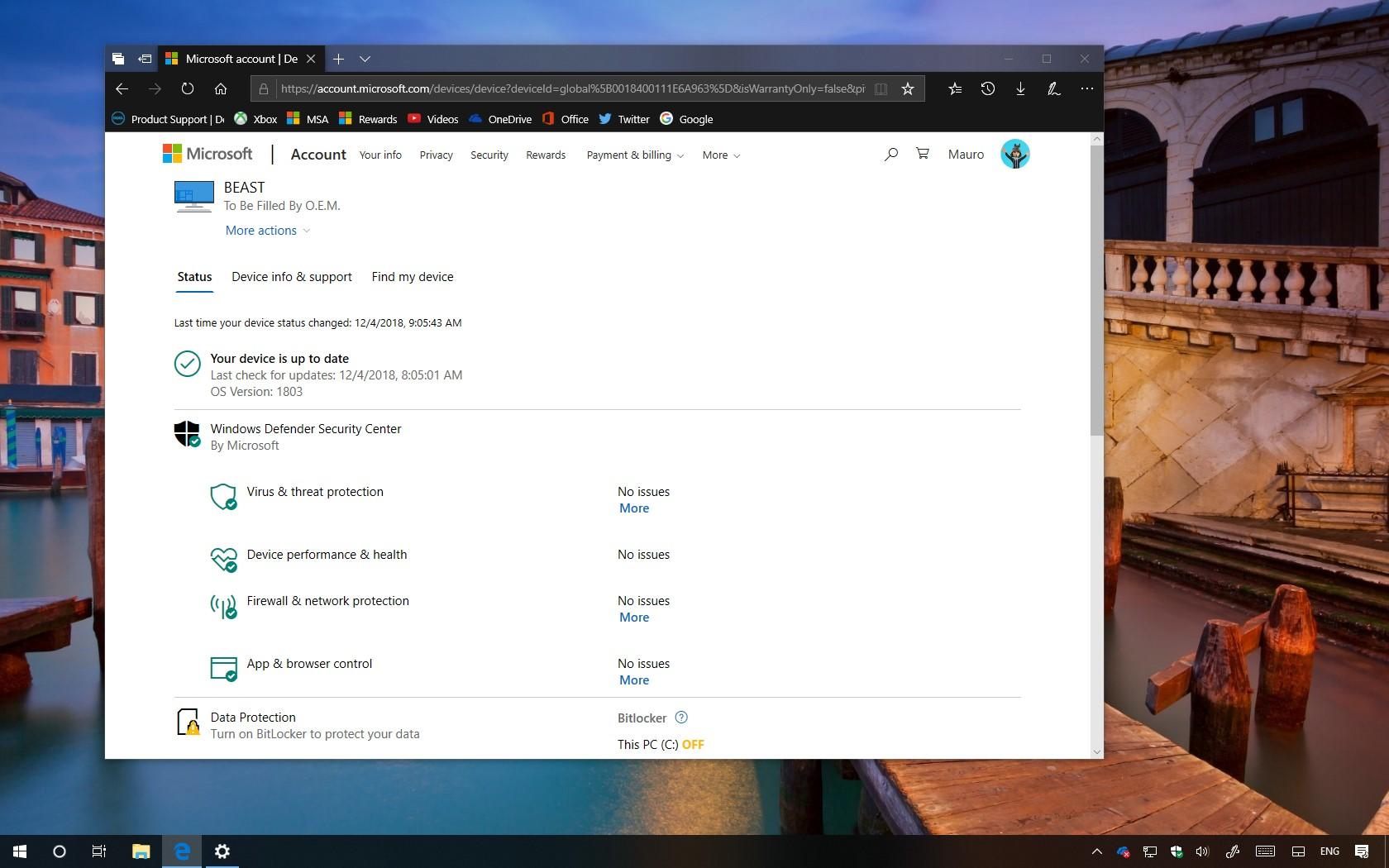 Microsoft account, Windows 10 PC status
