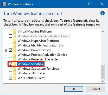Enable Windows Sandbox on Windows 10 version 1903