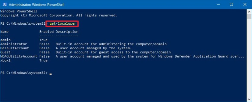 PowerShell Get-LocalUser command