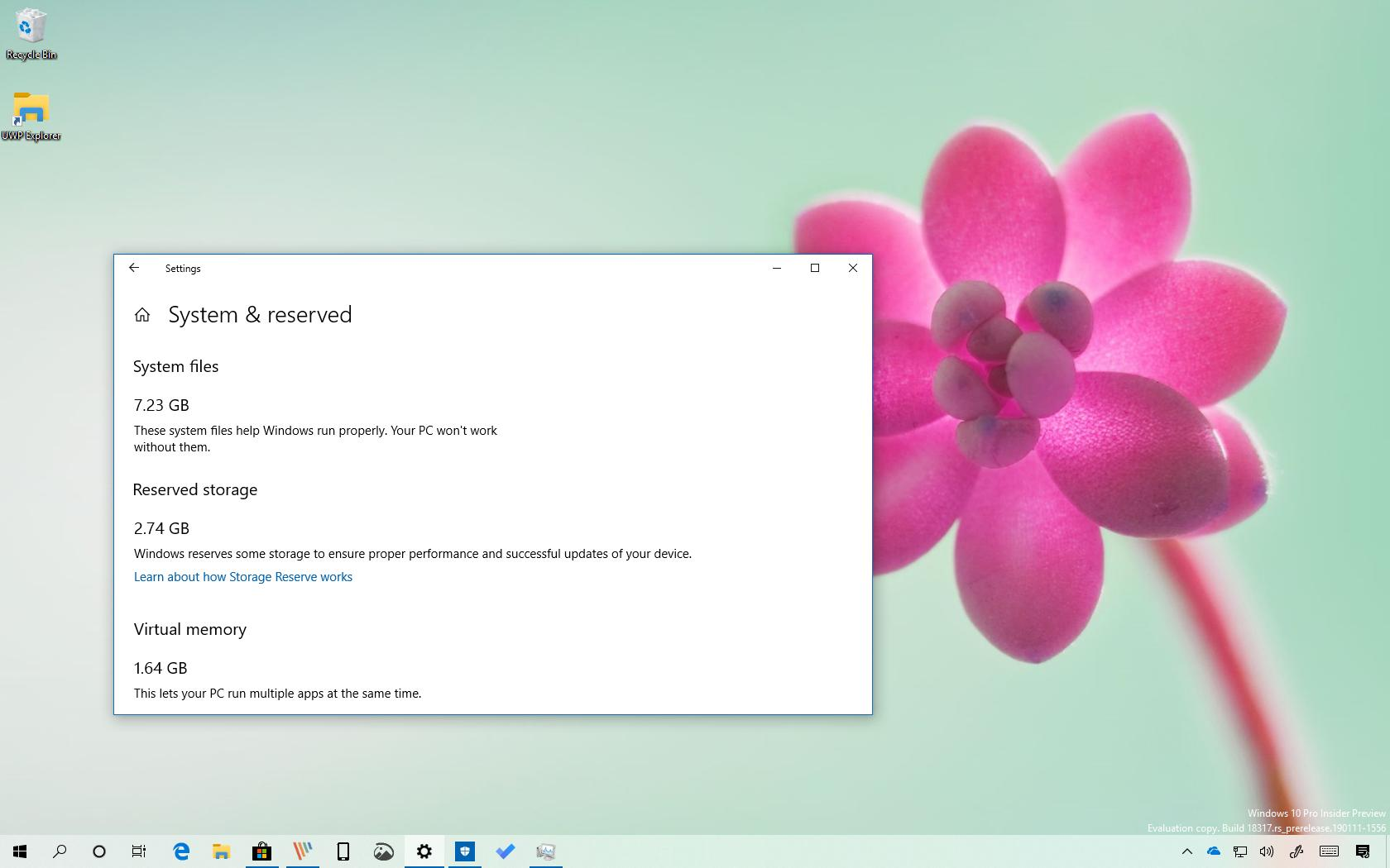 Reduce Reserved Storage space on Windows 10