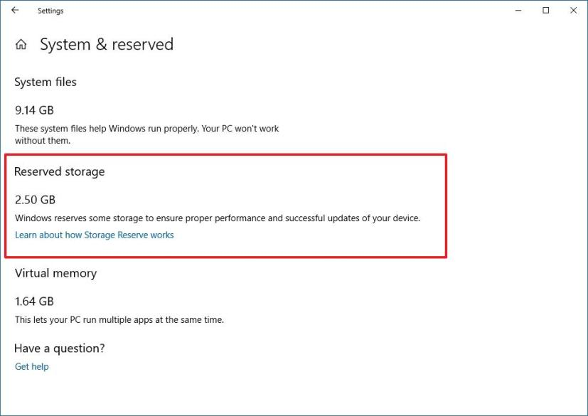 Reserved Storage on Windows 10