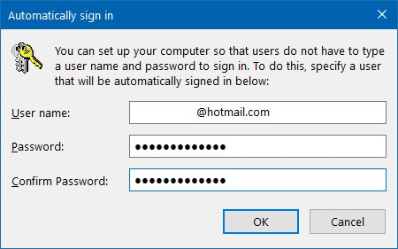 Automatic sign-in on Windows 10