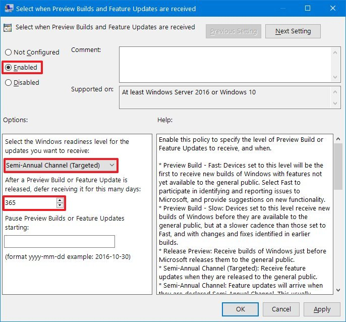 Block Windows 10 version 1903 using Group Policy settings
