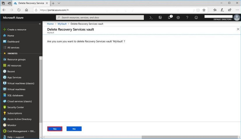 Recovery Services vault deletion confirmation