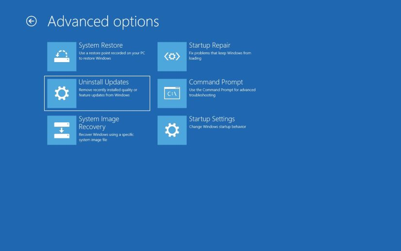 Uninstall quality updates on Windows 10 using Advanced startup