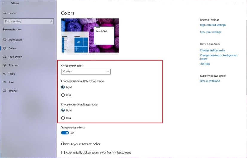 Windows 10 April 2019 Update option to enable light mode