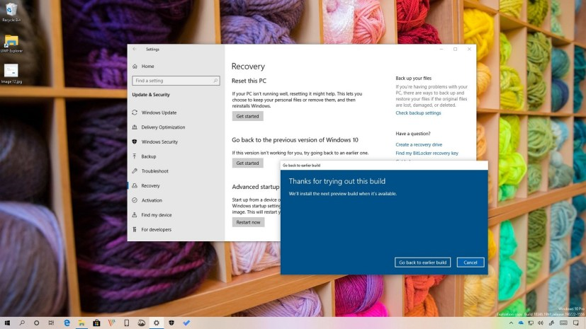 Uninstall Windows 10 April 2019 Update, version 1903