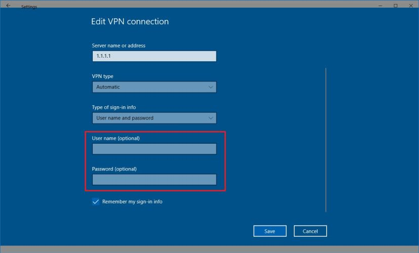 Change VPN username and password on Windows 10